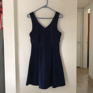 Monteau Navy Blue V-Neck Formal Dress, Medium